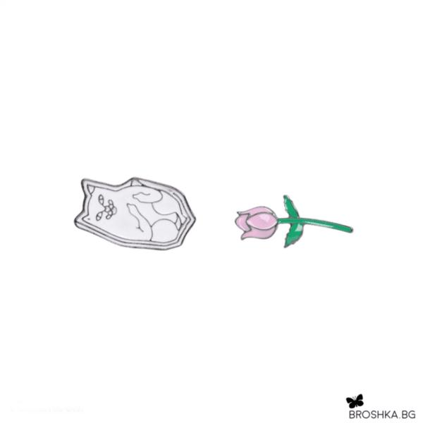 Брошки пинчета роза и коте