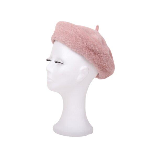 Розова пухкава барета барета