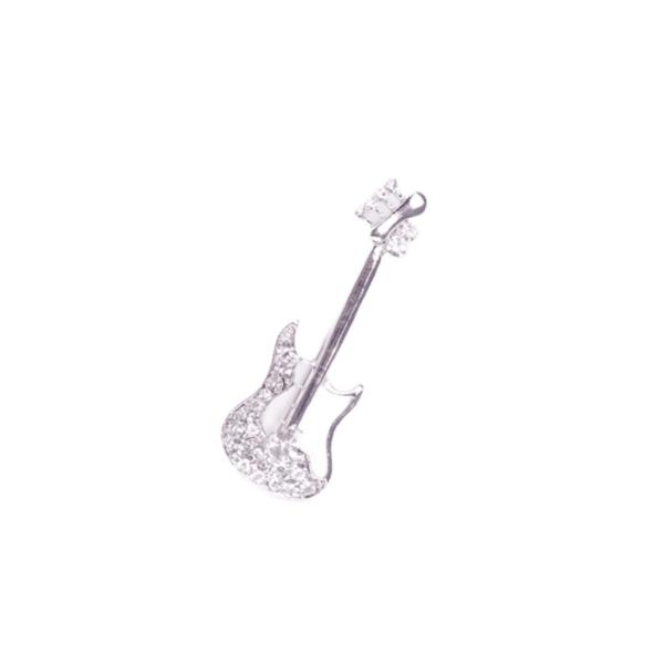 Брошка сребриста китара