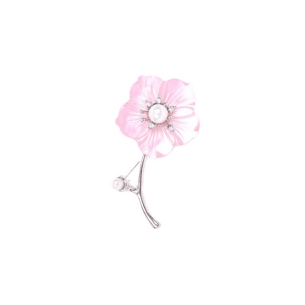 Брошка розово цвете с перли