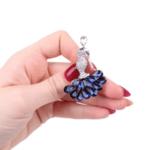 Брошка малка кристална балерина