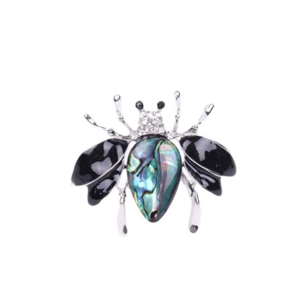 Брошка малка пчела със седеф