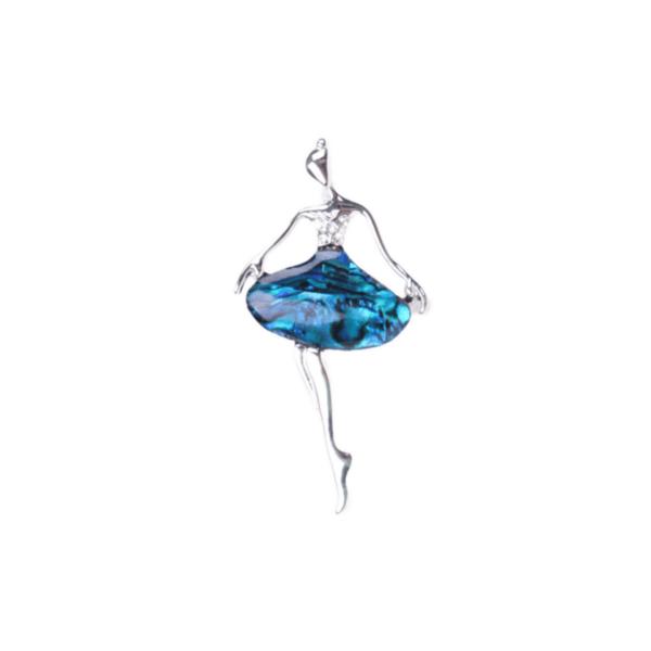 Брошка със седеф балерина в синьо
