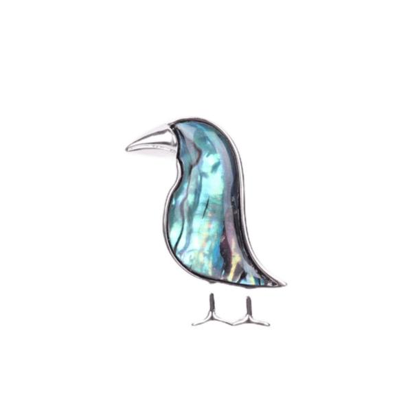 Брошка птица със седеф