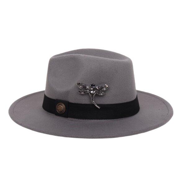 "Сива шапка Fedora с брошка ""Crystals"""