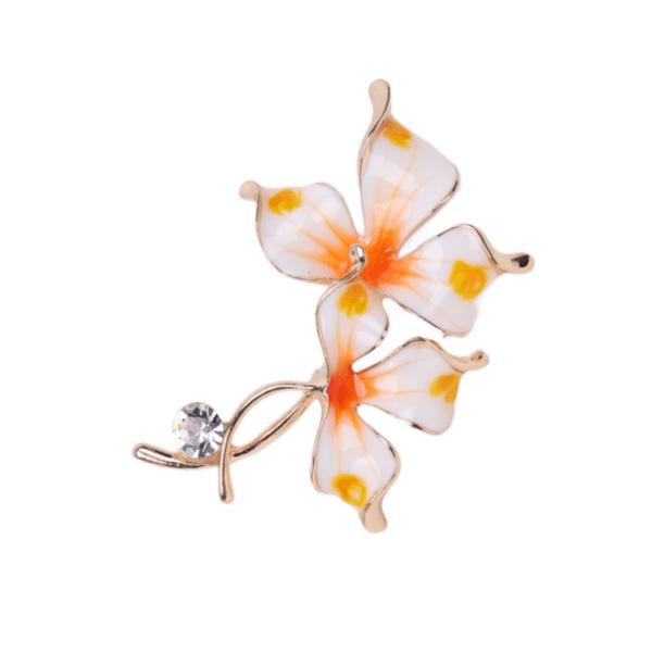Брошка асиметрично цвете в бяло и оранжево