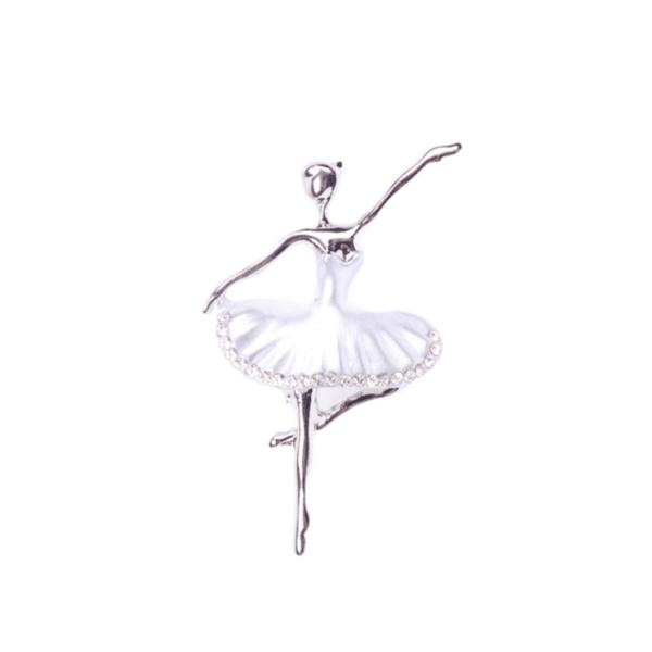 Брошка балерина със сребриста пачка