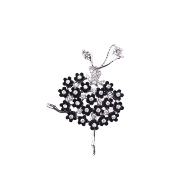 Брошка сребриста балерина с черни кристали