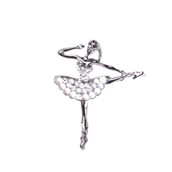 Брошка балерина в сребристо