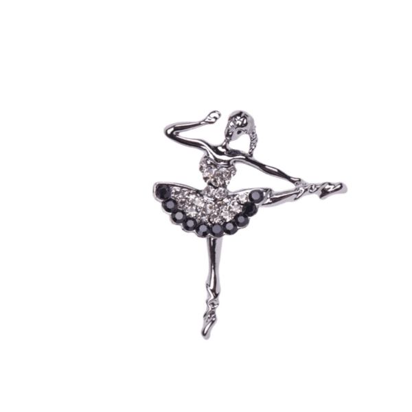 Брошка балерина в сребристо и черно