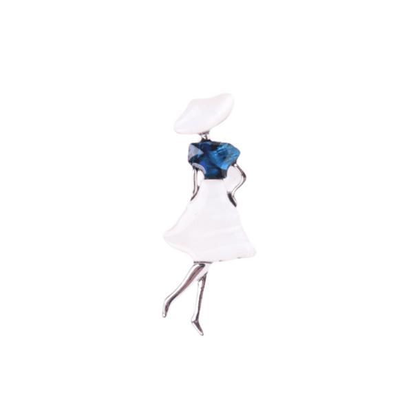 Брошка дама от седеф в бяло и синьо