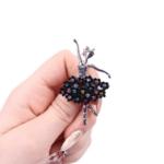 Брошка балерина в черно и цветни кристали