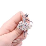 Брошка балерина в бяло и цветни кристали