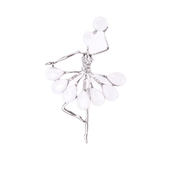 Брошка балерина със седеф в бяло и сребристо