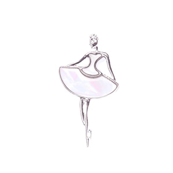 Брошка голяма балерина от седеф бяло