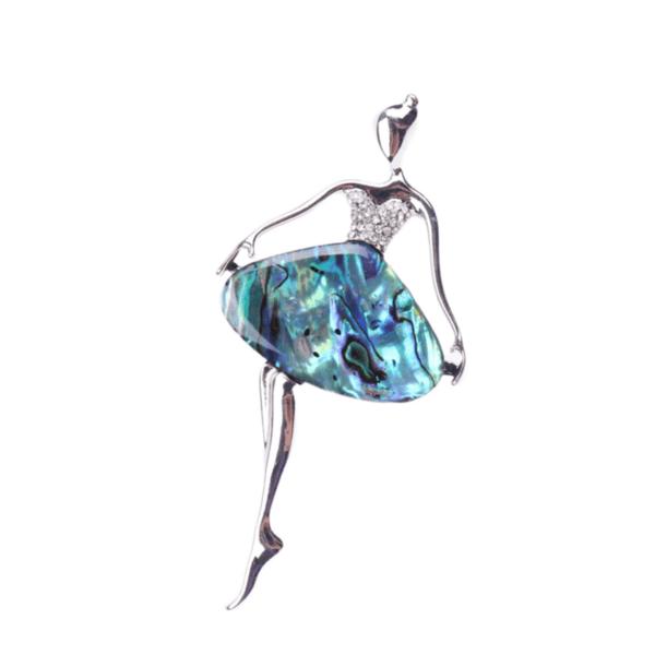 Брошка голяма балерина от седеф синьо