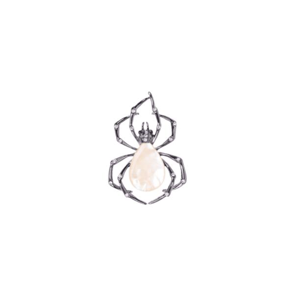 Брошка паяк със седеф