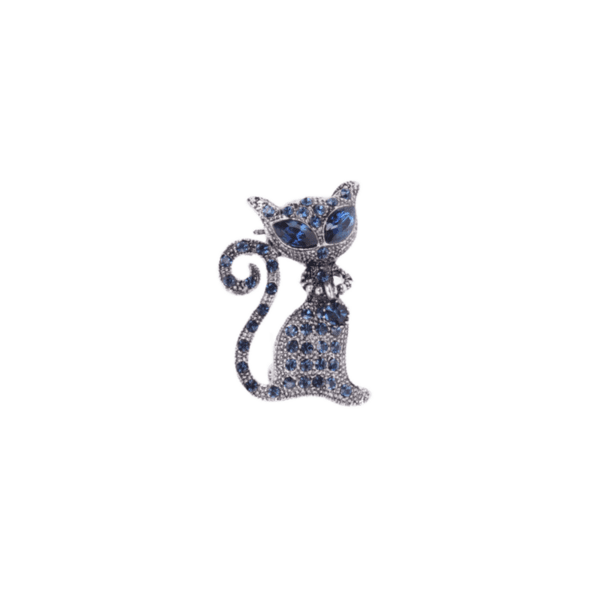 Брошка коте със сини кристали