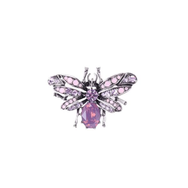 Брошка кристална пеперуда в лилаво