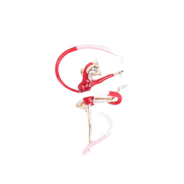 Брошка гимнастичка с лента в червено