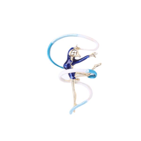 Брошка гимнастичка с лента в синьо
