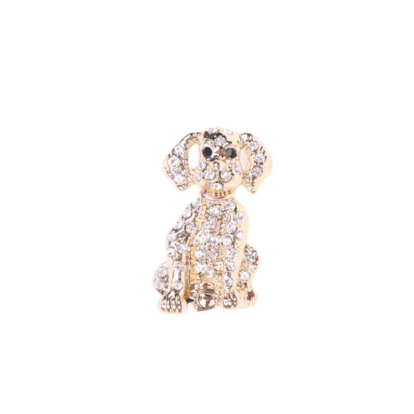 Брошка златисто куче с кристали