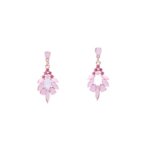Обеци с висящи кристали в розово PINK SPRING