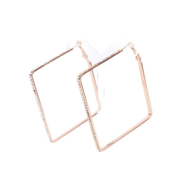 Обеци квадратни халки с кристали FIORRA