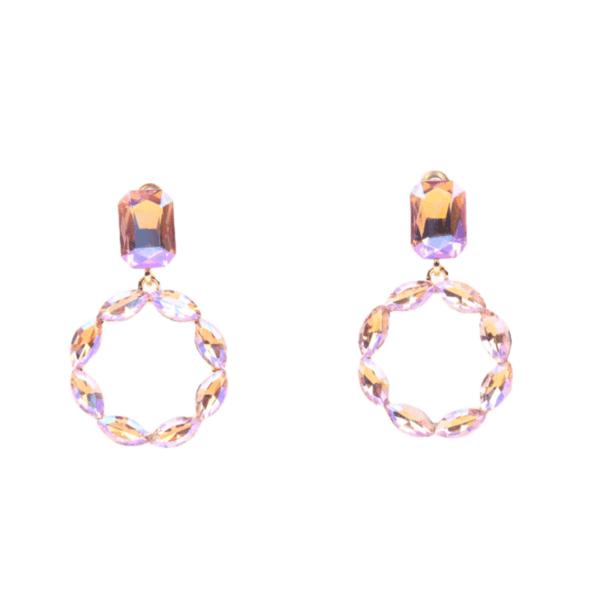 Обеци с розови кристали ROSA-MARIA