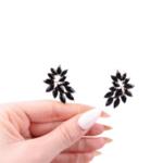 Черни обеци с кристали AZIA