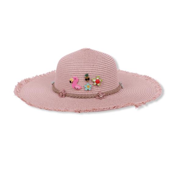 Плажна Шапка Декорирана с Пинчета в Розово
