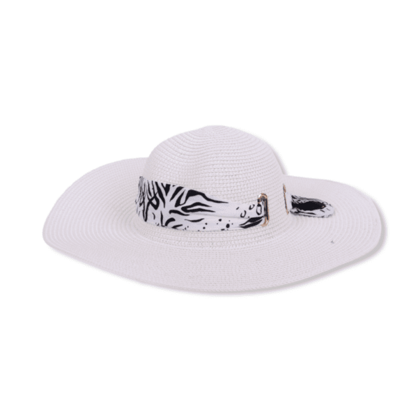 Бяла плажна шапка с шалче от сатен 'NAIROBI'