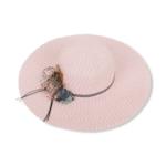 Розова плетена плажна шапка с цветя 'SARDINIA'