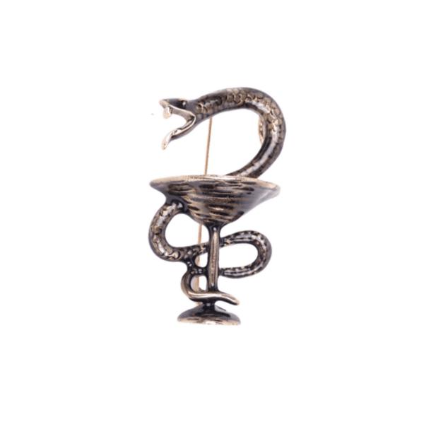 Брошка символ на медицината в тъмно злато