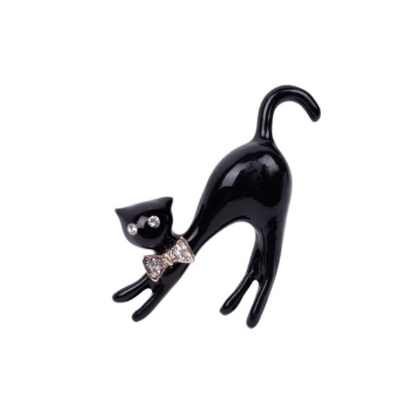 Брошка черно коте с папионка