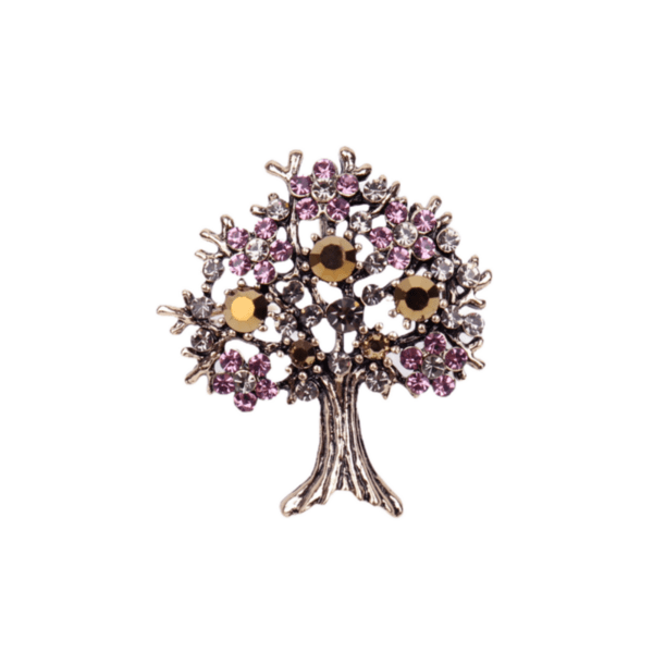 Брошка голямо дърво на живота със златисти и розови кристали