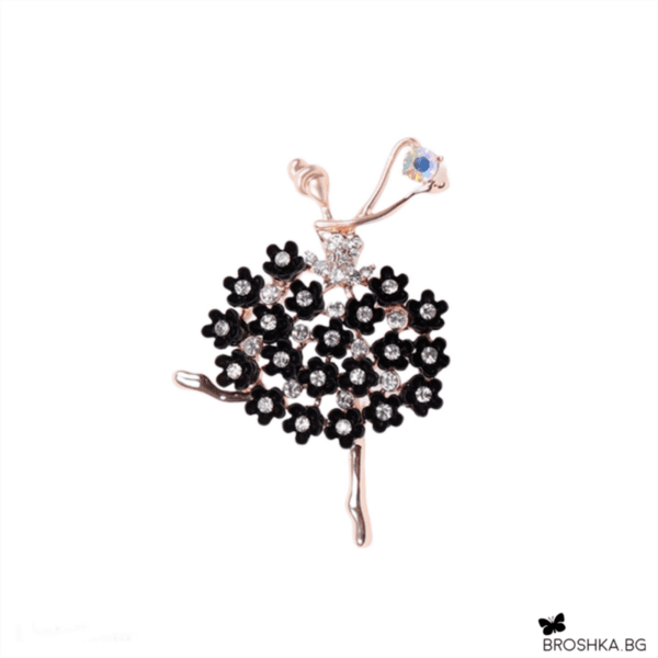 Брошка балерина с черни кристали