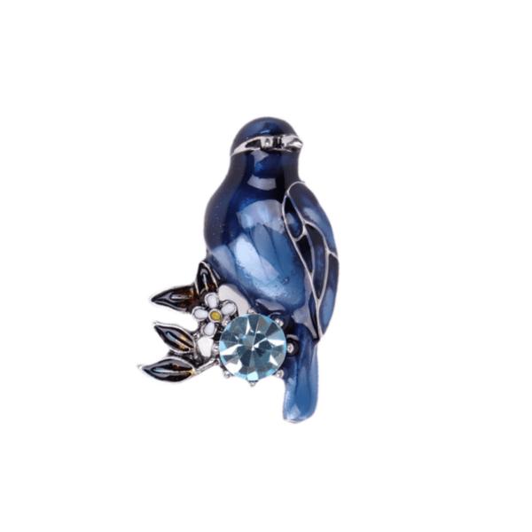 Брошка синя птица