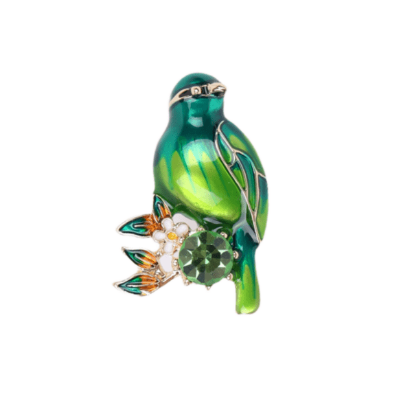 Брошка зелена птица