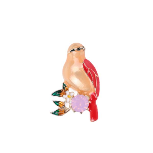 Брошка оранжева птица