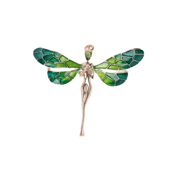 Брошка зелена фея ангел