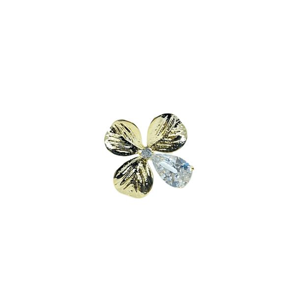 Брошка златисто цвете с кристали