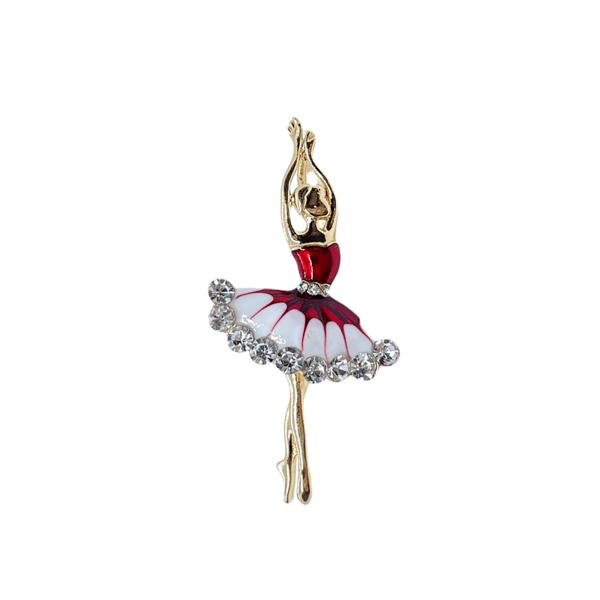 Брошка балерина с кристали в червено и бяло