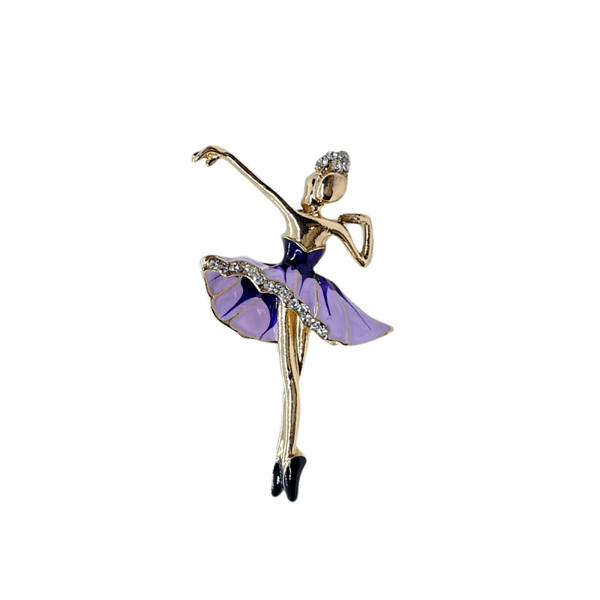 Брошка балерина с красива лилава пачка и кристали
