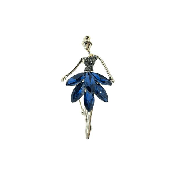 Брошка стилна балерина с тъмносини кристали