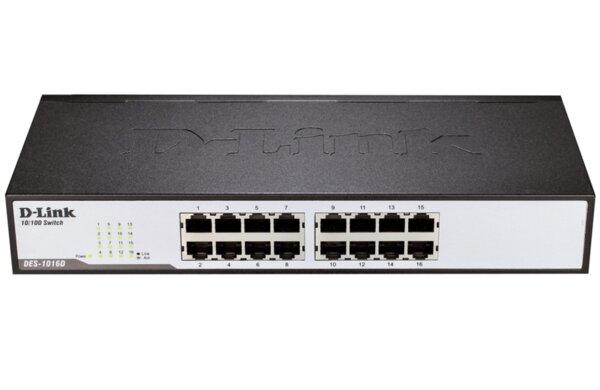 D-Link 16-Port 10/100Mbps Fast Ethernet Unmanaged Switch, rack mountable
