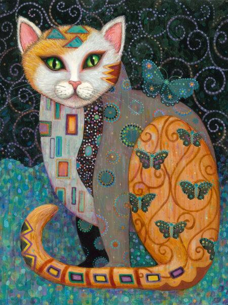 """Диамантен Гоблен """"Коте с Пеперуди"""" - 40 x 50 см, Кръгли мъниста"""