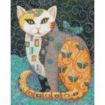 Визуализация на елмазен гоблен Коте с Пеперуди