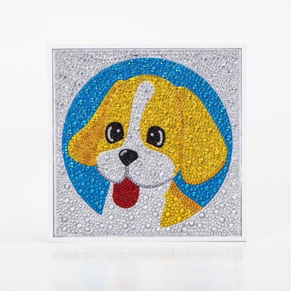"Детски Квадратен Диамантен Гоблен с Рамка ""Кученце"" - 20 х 20 см, кръгли мъниста"