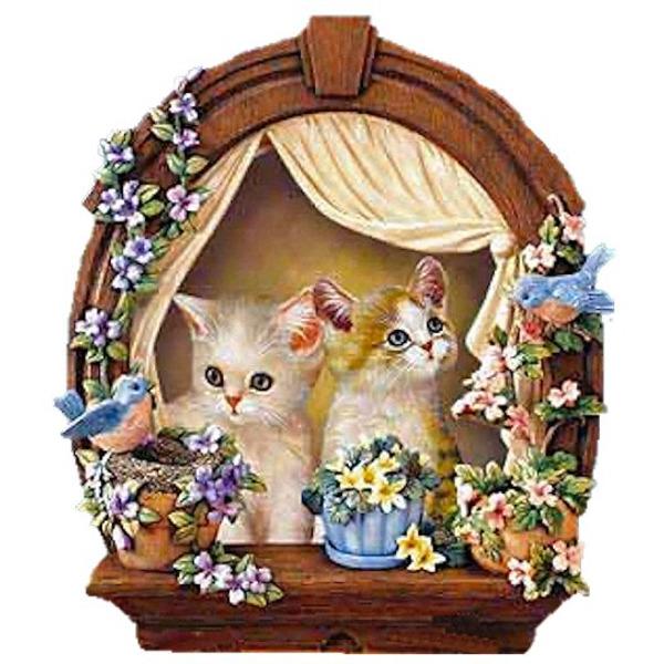 """Диамантен Гоблен """"Котенца на прозорче"""" - 30 x 40 см, Кръгли мъниста"""